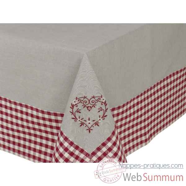 "Nappe 160 x 160 ""collection campagne coeur"" Antic Line -SEB12589"